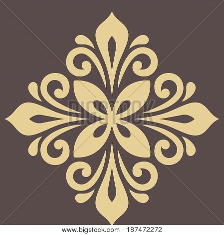 Oriental vector pattern with arabesques and floral elements. Traditional classic ornament. Vintage golden pattern with arabesques
