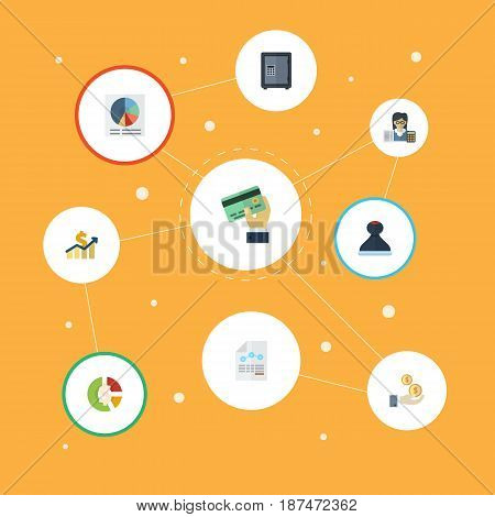 Flat Stock, Bookkeeper, Profit And Other Vector Elements. Set Of Registration Flat Symbols Also Includes Income, Booker, Balance Objects.