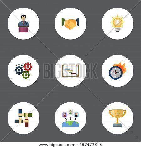 Flat Support, Incentive, Businessman And Other Vector Elements. Set Of Startup Flat Symbols Also Includes Partnership, Group, Workflow Objects.