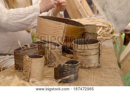 Medieval birch bark ware. Ancient crafts. Baskets from birch bark.
