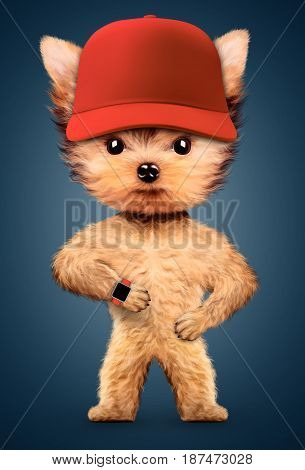 Funny dog wearing baseball cap and smart watch. Concept of sport and fitness. Realistic 3D illustration.