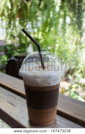 Iced Coffee With Milk Foam stock photo