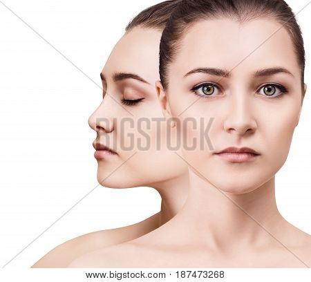 Woman's beauty faces with perfect skin and makeup. Healthy skin concept