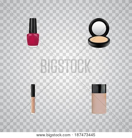Realistic Cover, Concealer, Varnish And Other Vector Elements. Set Of Cosmetics Realistic Symbols Also Includes Lipstick, Cover, Concealer Objects.