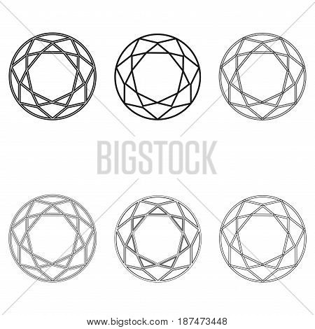 Diamond set icon. Vector Illustration. Shiny crystal sign. Brilliant stone. Black stroke isolated on white background. Fashion modern design. Flat element. Symbol gift, jewel, gem or royal, rich.