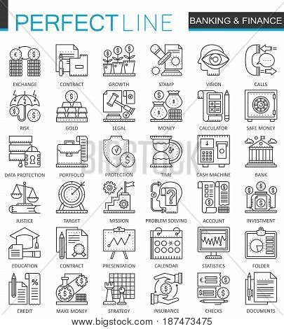 Banking finance thin line web icons set. Money and payments Online shopping Outline stroke icon design
