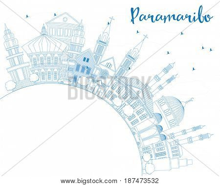 Outline Paramaribo Skyline with Blue Buildings and Copy Space. Business Travel and Tourism Concept with Modern Architecture. Image for Presentation Banner Placard and Web Site.
