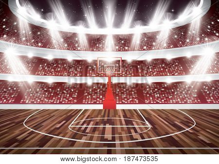 Basketball Court with Hoop and Spotlights.