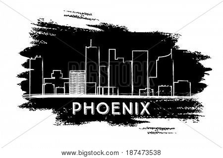 Phoenix Skyline Silhouette. Hand Drawn Sketch. Business Travel and Tourism Concept with Modern Architecture. Image for Presentation Banner Placard and Web Site.