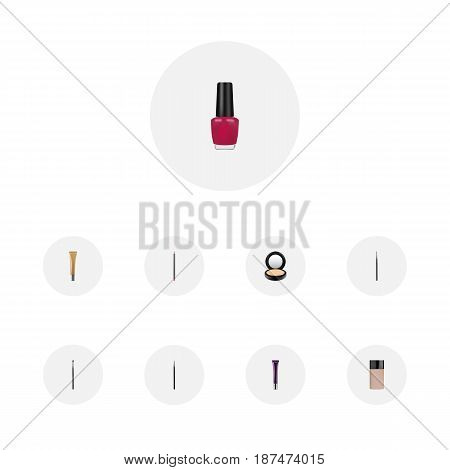 Realistic Brush, Eye Paintbrush, Collagen Tube And Other Vector Elements. Set Of Greasepaint Realistic Symbols Also Includes Varnish, Powder, Creme Objects.