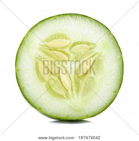 Slice Cucumber Isolated On The White Background