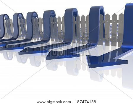 Blue arrows and fence on white reflective background 3D illustration.