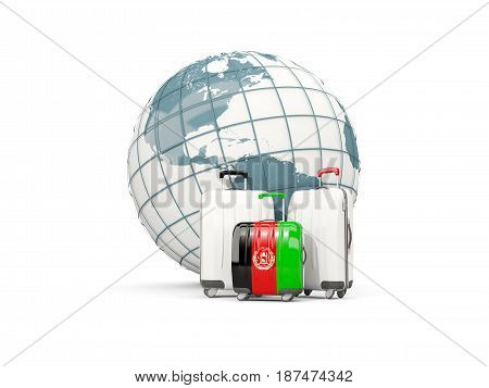 Luggage With Flag Of Afghanistan. Three Bags In Front Of Globe