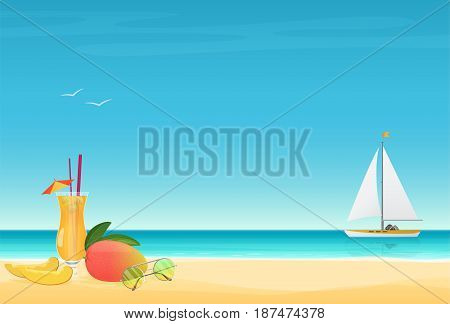 Mango Fruit Cocktail on the sand Beach Background with yacht. Summer poster vector illustration