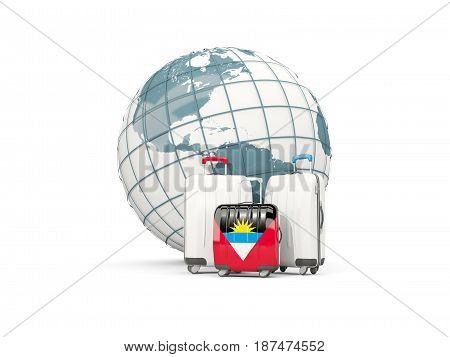 Luggage With Flag Of Antigua And Barbuda. Three Bags In Front Of Globe