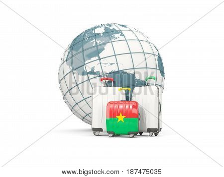 Luggage With Flag Of Burkina Faso. Three Bags In Front Of Globe