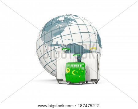 Luggage With Flag Of Cocos Islands. Three Bags In Front Of Globe