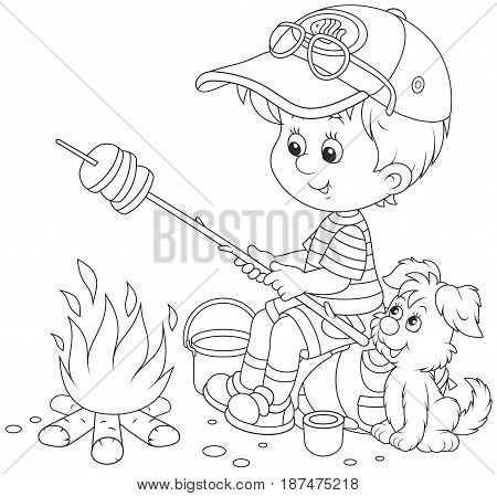 Black and white vector illustration of a little boy traveler and his small pup cooking bread on fire