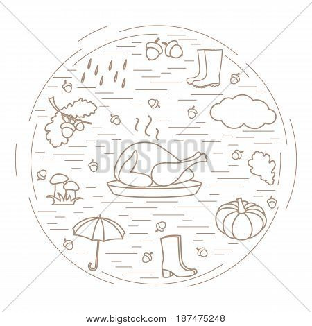 Autumn Symbols In Circle. Umbrella, Acorns, Turkey, Rain, Pumpkin And Other Fall Symbols.