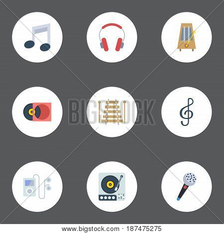 Flat Karaoke, Rhythm Motion, Musical Instrument And Other Vector Elements. Set Of Studio Flat Symbols Also Includes Vinyl, Clef, Disc Objects.