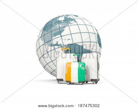 Luggage With Flag Of Cote D Ivoire. Three Bags In Front Of Globe