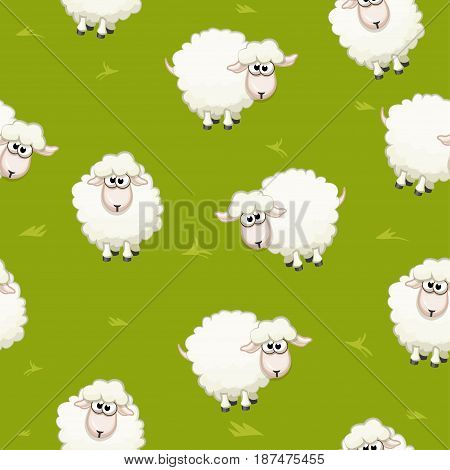 Seamless pattern with cute funny herd white sheeps on grass. Vector background