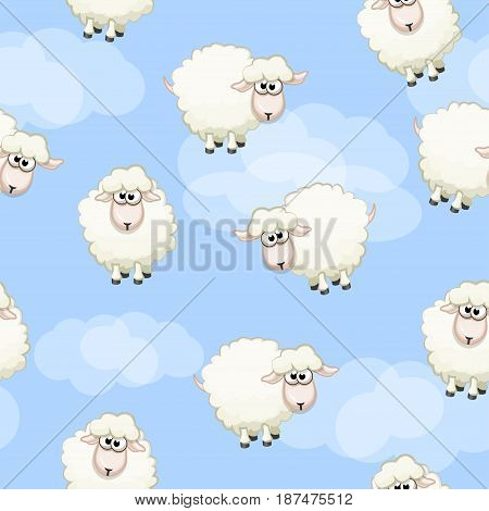 Seamless pattern with cute funny herd white sheeps on sky. Vector background