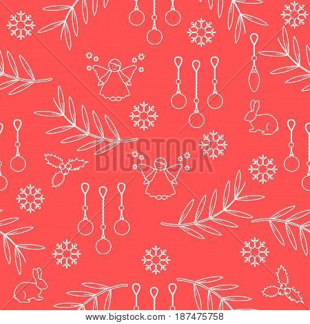 Winter Seamless Pattern With Variety New Year And Christmas Symbols.