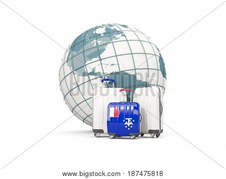 Luggage With Flag Of French Southern Territories. Three Bags In Front Of Globe