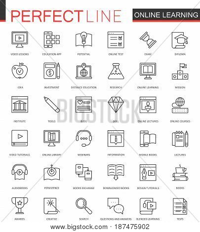 Online education thin line web icons set. Knowledge Outline stroke icon design