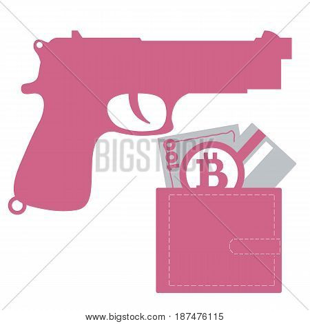 Stylized Icon Of A Colored Gun And Purse With Money Bill, Credit Card, Bitcoin