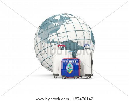 Luggage With Flag Of Guam. Three Bags In Front Of Globe
