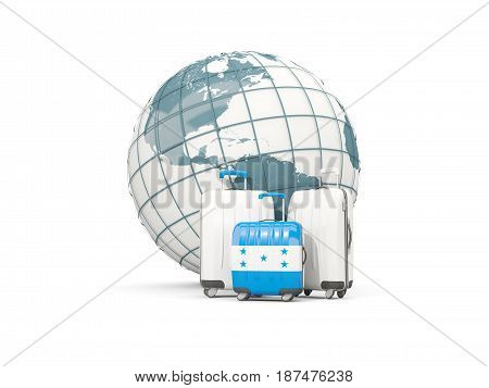 Luggage With Flag Of Honduras. Three Bags In Front Of Globe