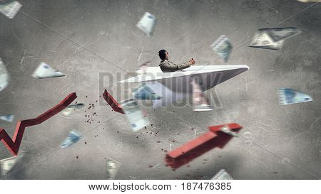 Aviator in origami plane. Mixed media . Mixed media