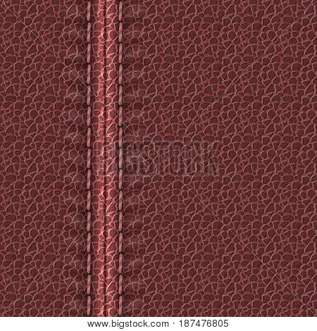 Realistic leather texture with a seam. Maroon leather background with stitching. Vector illustration