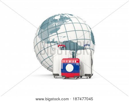 Luggage With Flag Of Laos. Three Bags In Front Of Globe