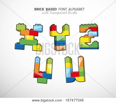 Alphabet set created from playing bricks with some transparent elements.