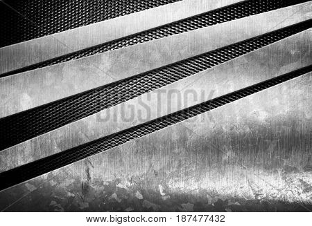 stained metal design with mesh background