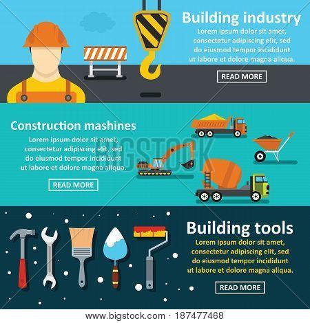 Building tools banner horizontal concept set. Flat illustration of 3 building tools vector banner horizontal concepts for web