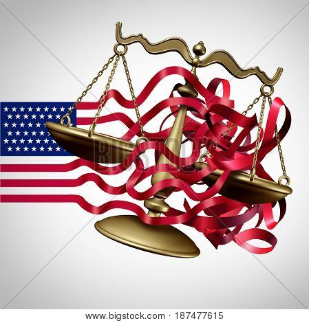 American Legal System Challenge and United States business regulations crisis as a flag with stripes tangled with a justice scale as a government law or Washington and white house legislation confusion as a 3D illustration.