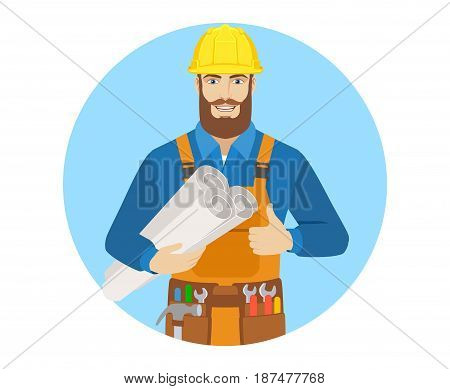 Worker holding the project plans and showing thumb up. Portrait of worker character in a flat style. Vector illustration.