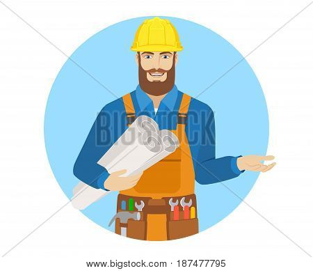Worker holding the project plans and gesturing. Portrait of worker character in a flat style. Vector illustration.