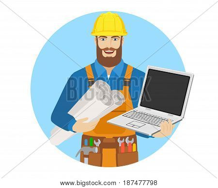 Worker with laptop notebook holding the project plans. Portrait of worker character in a flat style. Vector illustration.