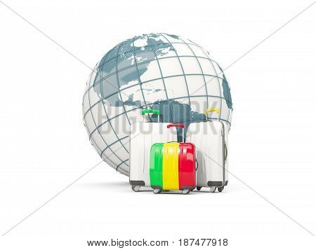 Luggage With Flag Of Mali. Three Bags In Front Of Globe