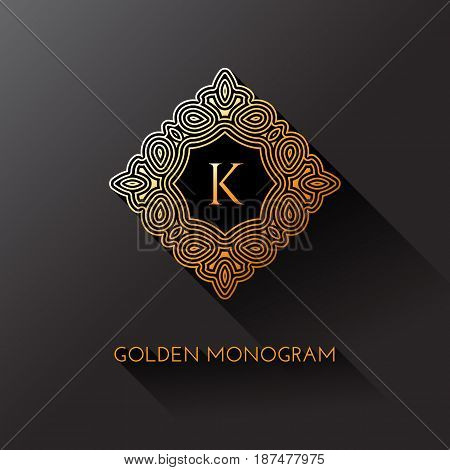 Golden elegant monogram with letter K. Template design for monogram label logo emblem. Vector illustration.