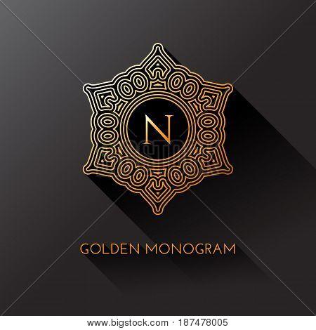 Golden elegant monogram with letter N. Template design for monogram label logo emblem. Vector illustration.