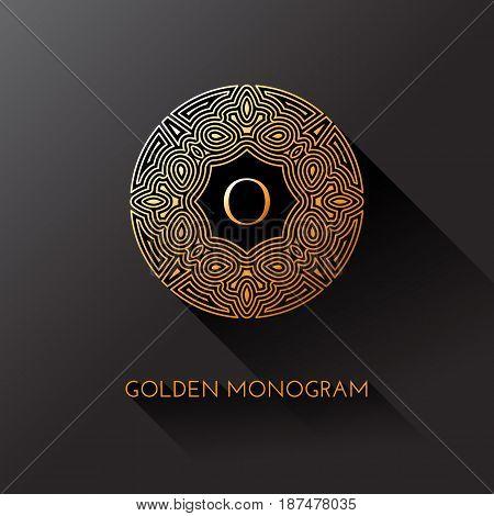 Golden elegant monogram with letter O. Template design for monogram label logo emblem. Vector illustration.