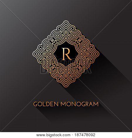 Golden elegant monogram with letter R. Template design for monogram label logo emblem. Vector illustration.