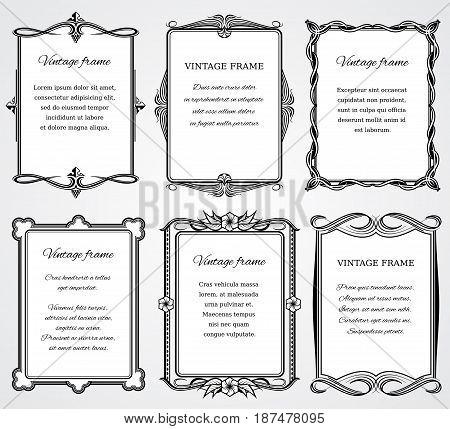 Vintage victorian border frames vector set for certificate and book design Victorian greeting frame template illustration