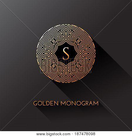 Golden elegant monogram with letter S. Template design for monogram label logo emblem. Vector illustration.